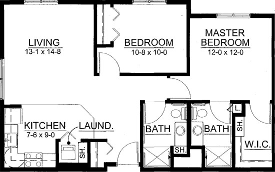 Wheat - Two Bedroom Floorplan