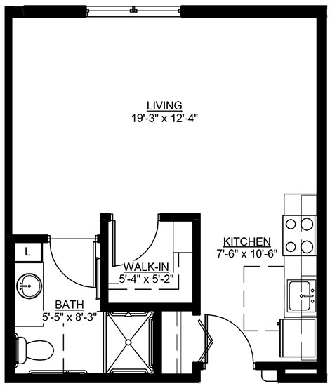 Concord - Studio Floorplan