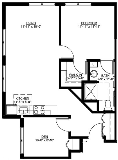 LaCrescent - One Bedroom Floorplan