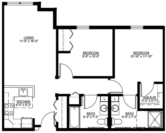 Prairie Star - Two Bedroom Floorplan