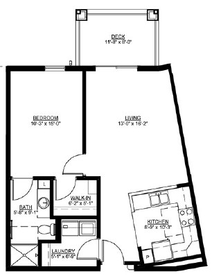 Baldwin - One Bedroom Floorplan