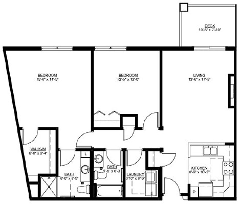 Pinova - Two Bedroom Floorplan