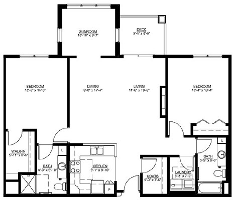 Regent - Two Bedroom Floorplan