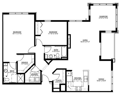 Rome - Two Bedroom Floorplan