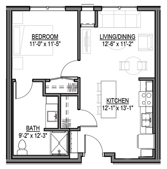Elk - One Bedroom Floorplan