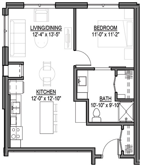 Fox - One Bedroom Floorplan