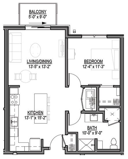 Aster - One Bedroom Floorplan