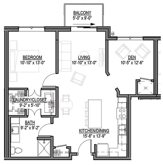 Big Bluestem - One Bedroom + Den Floorplan