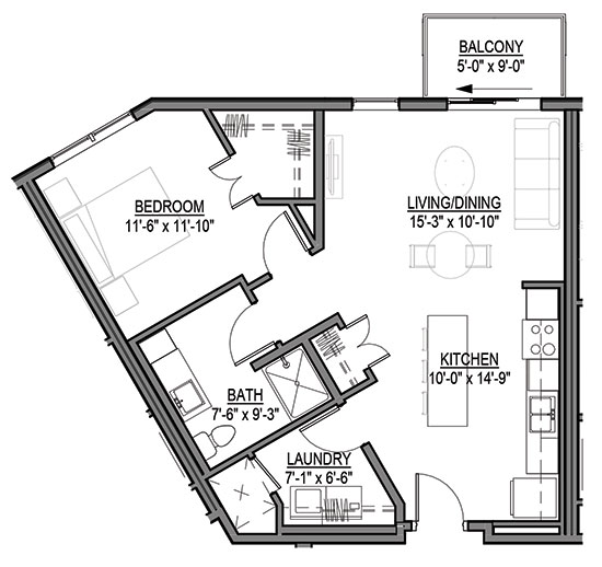 Blazing Star - One Bedroom Floorplan