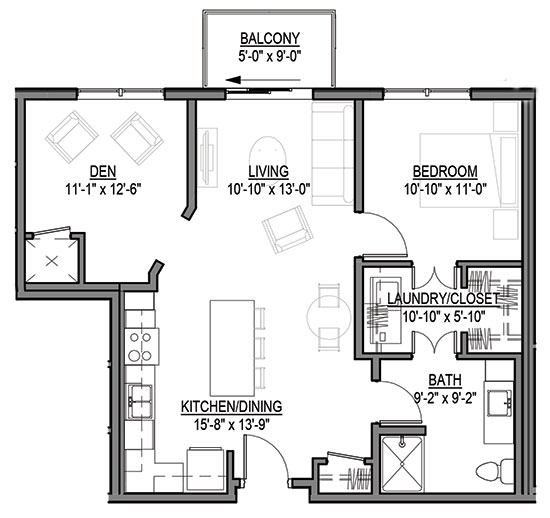 Little Bluestem - One Bedroom + Den Floorplan