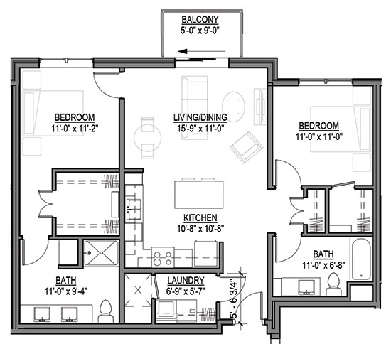 Purple Prairie Clover - Two Bedroom Floorplan