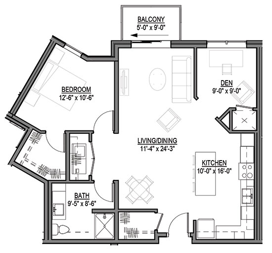 Switch Grass - One Bedroom + Den Floorplan