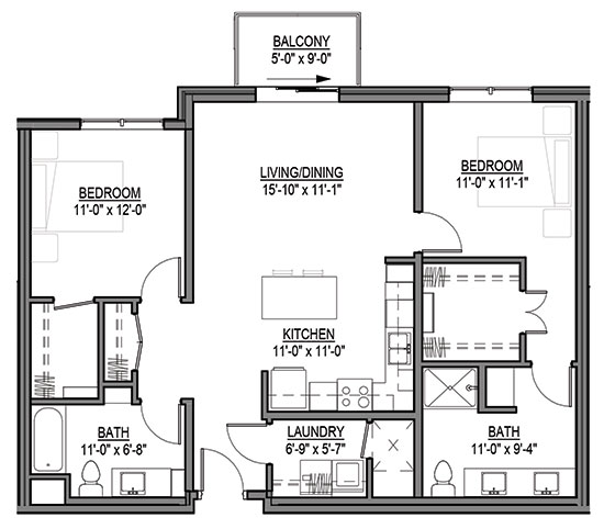 White Prairie Clover - Two Bedroom Floorplan
