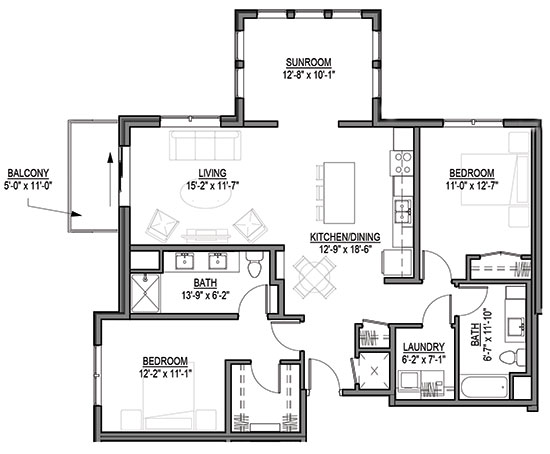 Yarrow - Two Bedroom + Sunroom Floorplan