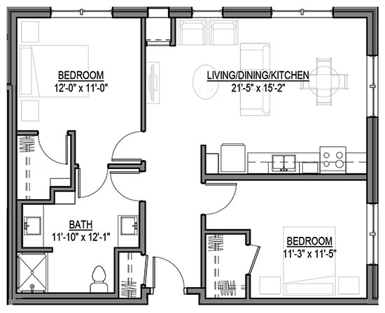 White Tail - Two Bedroom Floorplan