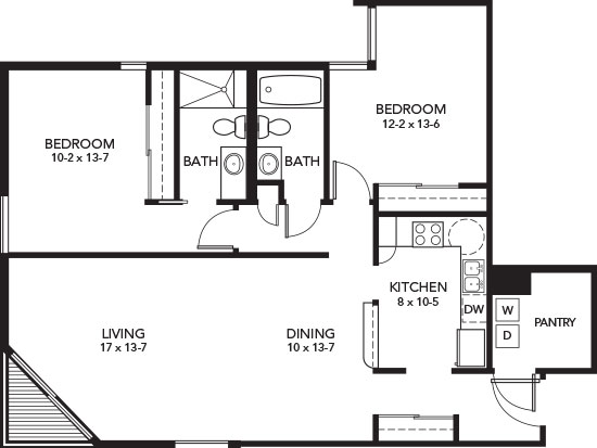 E - Two Bedroom Floorplan