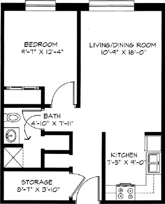 One Bedroom - One Bedroom Floorplan