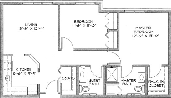 Snowberry - Two Bedroom Floorplan