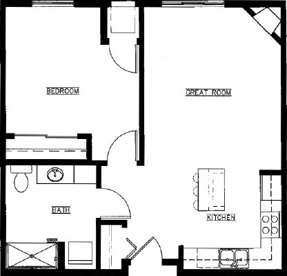 Huckleberry - One Bedroom Floorplan