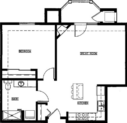 Myrtle - One Bedroom Floorplan