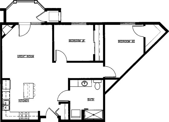 Periwinkle - Two Bedroom Floorplan