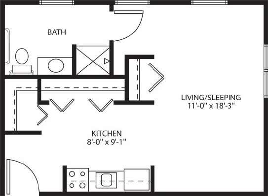 Deluxe studio apartment - Deluxe Studio Floorplan