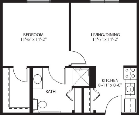 One bedroom apartment - One Bedroom Floorplan