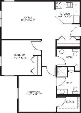 Two bedroom apartment - Two Bedroom Floorplan