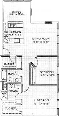 Lily - Two Bedroom Floorplan