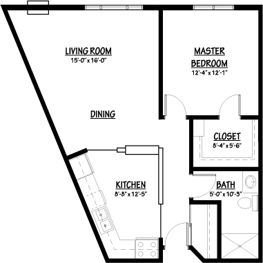 Azalea - One Bedroom Floorplan