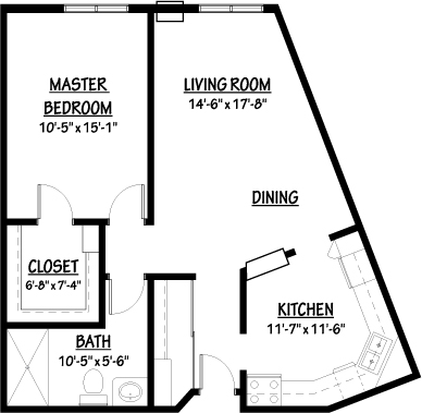 Buttercup - One Bedroom Floorplan
