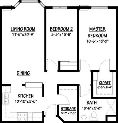 Forget-Me-Not - Two Bedroom Floorplan