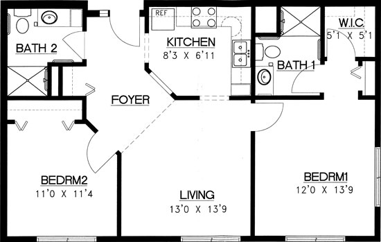 Gunflint - Two Bedroom Floorplan