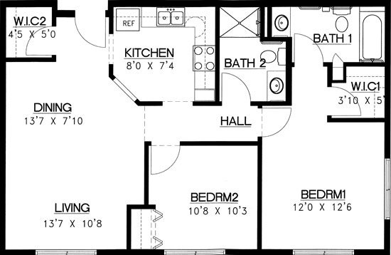 North Shore - Two Bedroom Floorplan