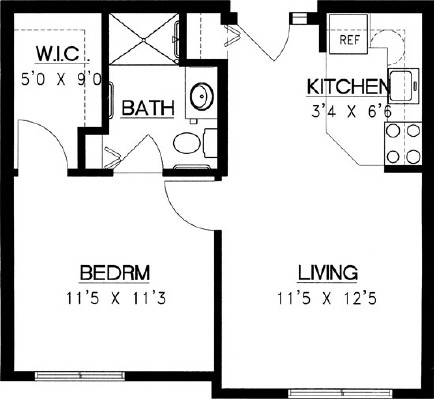 Arrowhead - One Bedroom Floorplan