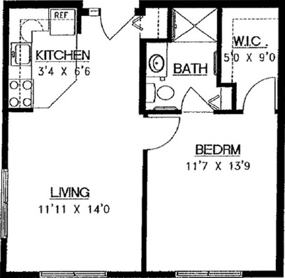 Bear Den - One Bedroom Floorplan