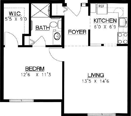 Caribou - One Bedroom Floorplan