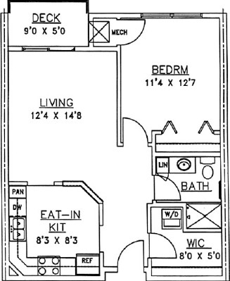 Bur Oak - One Bedroom Floorplan