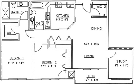 Tamarack - Two Bedroom Floorplan