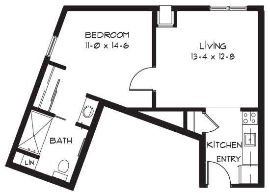 H - One Bedroom Floorplan