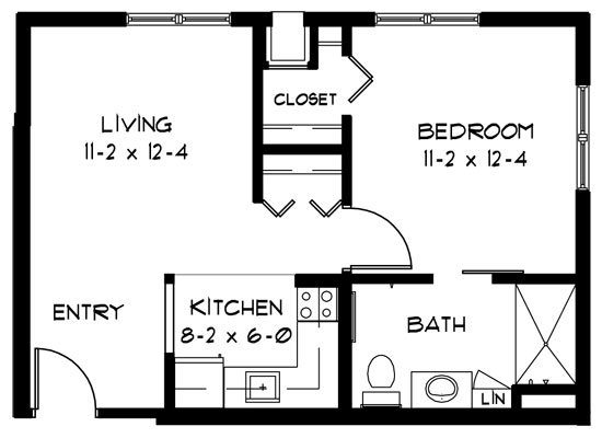 K - One Bedroom Floorplan