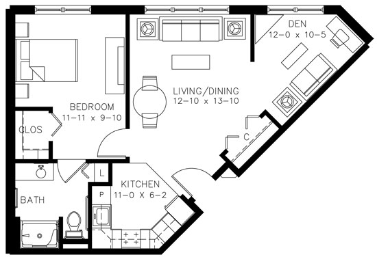 B1HC - One Bedroom Floorplan