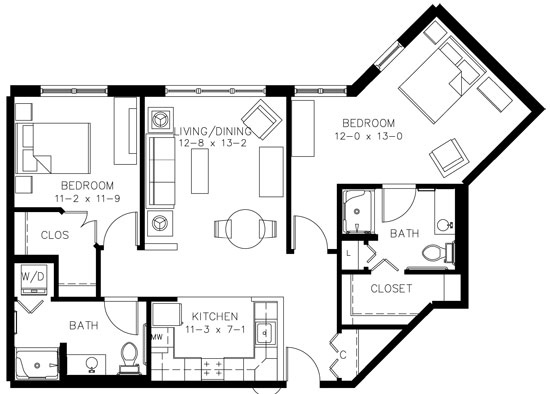 C2HC - Two Bedroom Floorplan