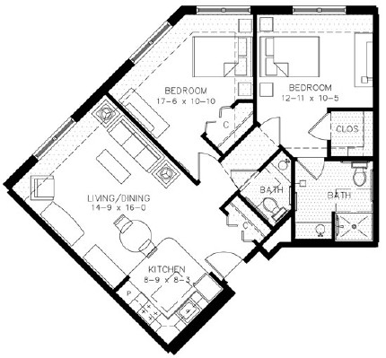 C3 - Two Bedroom Floorplan