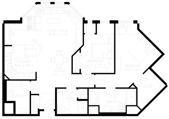C4 - Two Bedroom Floorplan