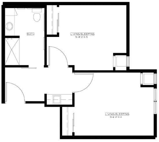 Private Room/Shared Bath - Private Room Floorplan