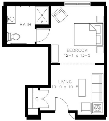 Plan 2 - Studio Floorplan