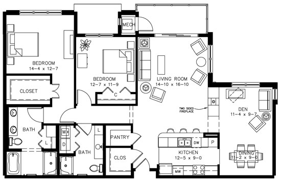 D5A with Den - Two Bedroom Floorplan
