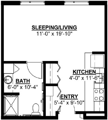 Aspen - Studio Floorplan