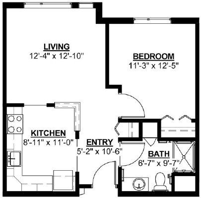 Butternut - One Bedroom Floorplan